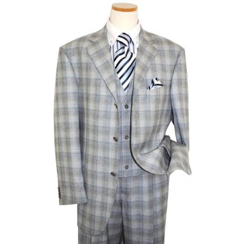 Extrema by Zanetti Black/White Houndstooth Sky Blue Windowpanes Super 140's Wool Suit