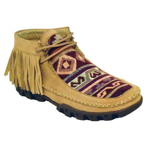 Ferrini Ladies 65322-16 Tan Genuine Microsuede Moccasins Boots With Fringes.
