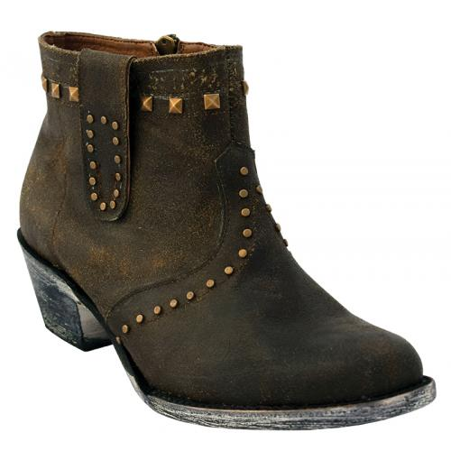 Ferrini Ladies 61081-59 Dark Chocolate Genuine Cowhide Leather S-Toe Ankle Boot.