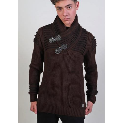 Barabas Brown / Black Pull-Over Buckled Shawl Collar Modern Fit Sweater W122