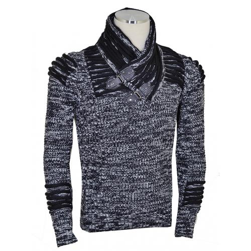 Barabas Black / White Pull-Over Buckled Shawl Collar Modern Fit Sweater W102