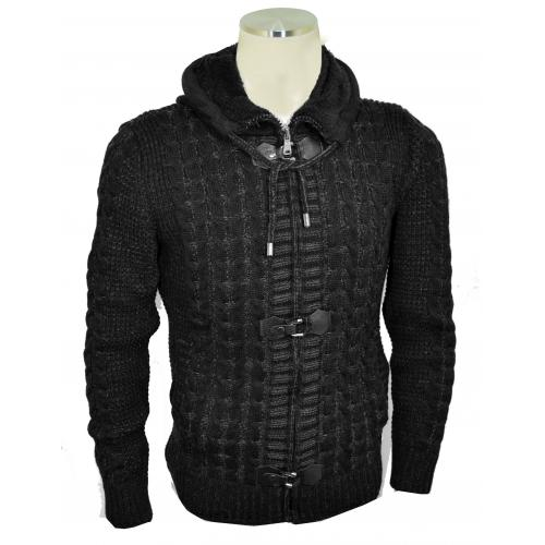 Barabas Black / Grey Modern Fit Zip-Up Hooded / Buckled Cardigan Sweater WZ251