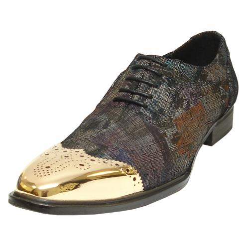 Fiesso Black /Multi Color Genuine Leather Gold Wing Metal Tip lace Up Shoes FI6896.