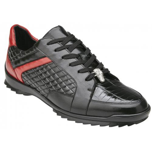 "Belvedere ""Joel"" Black / Red Genuine Crocodile / Soft Calf Lace-Up Sneakers 31606."