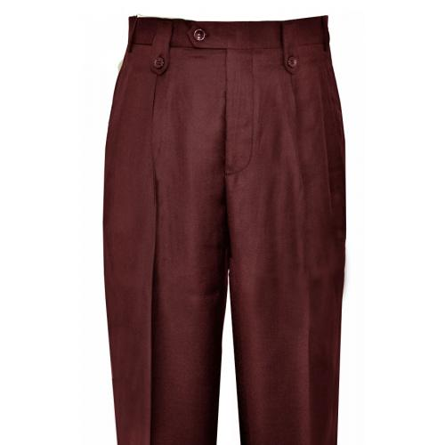 Pronti Burgundy Wide Leg Slacks With Custom Button Tabs / Flapped Pockets P6046