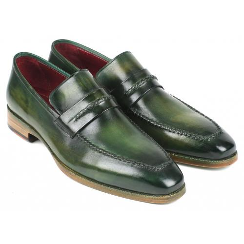 "Paul Parkman ''068-GRN"" Green Genuine Hand-Painted Leather Loafers."