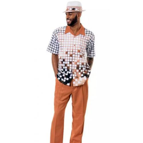 Montique Cognac / White / Black Checked Design Short Sleeve Outfit 1914