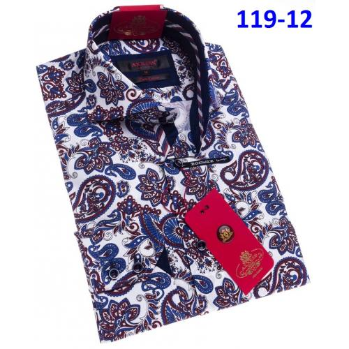 Axxess  Navy / Wine / White Paisley Design Cotton Modern Fit Dress Shirt With Button Cuff 119-12.