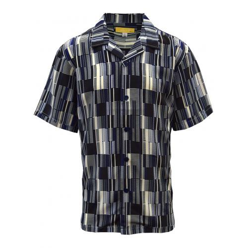 Silversilk Black / Navy / Off-White Button Up Short Sleeve Shirt 6704