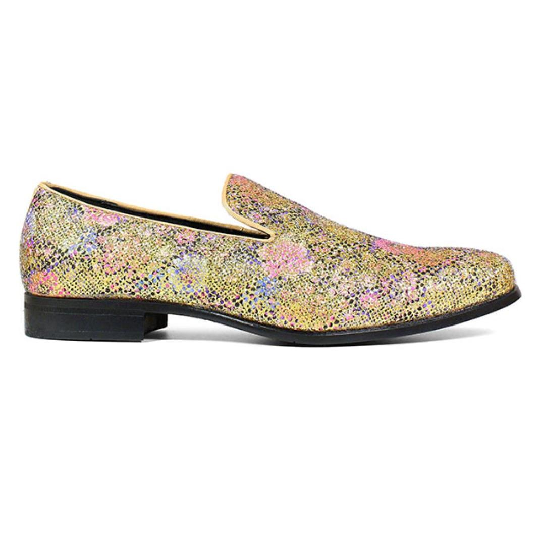 Stacy Adams Swank Glitter Floral Slip On Shoes Gold Multi 25329-719
