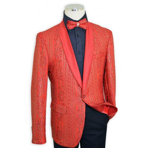 Cielo Red / Metallic Gold Embroidered Satin Classic Fit Blazer / Bow Tie B6387