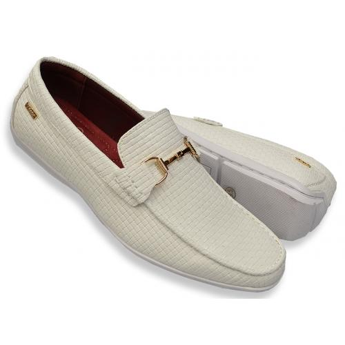 "Tayno ""Pelf"" White Woven Vegan Leather Bit Strap Driving Loafers"