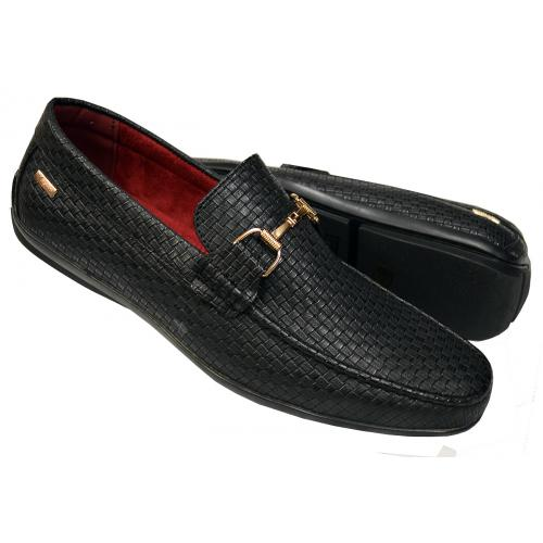 "Tayno ""Pelf"" Black Woven Vegan Leather Bit Strap Driving Loafers"