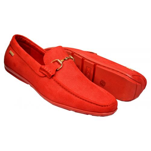 "Tayno ""Kral"" Red Pebbled Vegan Leather Bit Strap Driving Loafers"