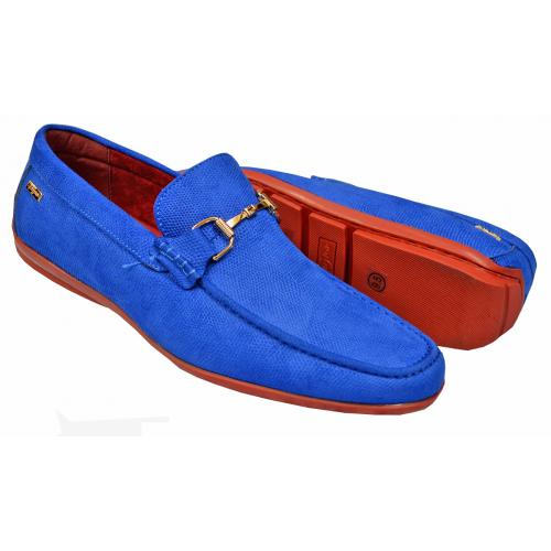 "Tayno ""Kral"" Royal Blue Pebbled Vegan Leather Bit Strap Driving Loafers"