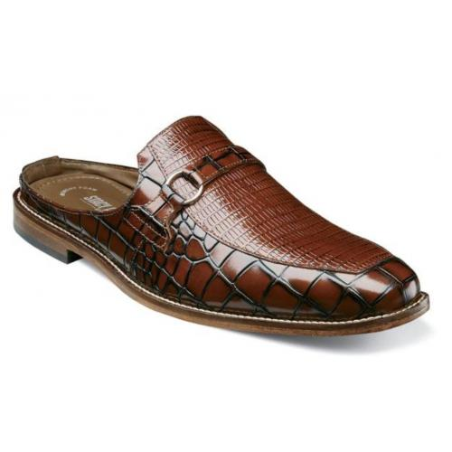 "Stacy Adams ""Multari'' Cognac Genuine Leather Sole Moc Toe Mule 25274-221."