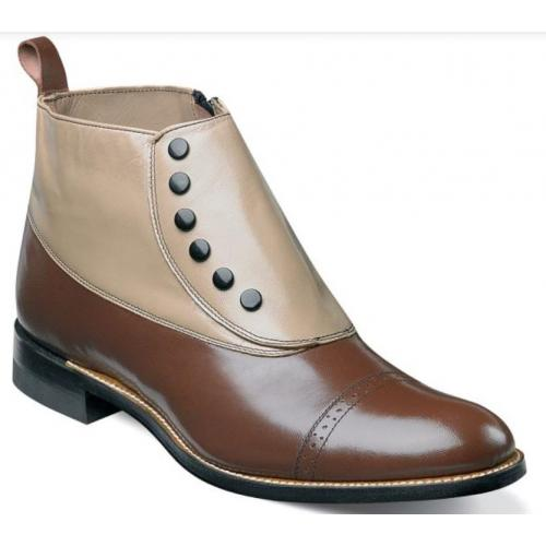 "Stacy Adams ""Madison'' Brown Multi Goatskin Leather Spectator Spat Cap Toe Boot 00026-249."