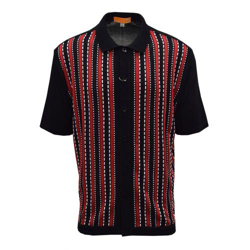 Silversilk Black / Red / White Button Up Knitted Short Sleeve Shirt 6120
