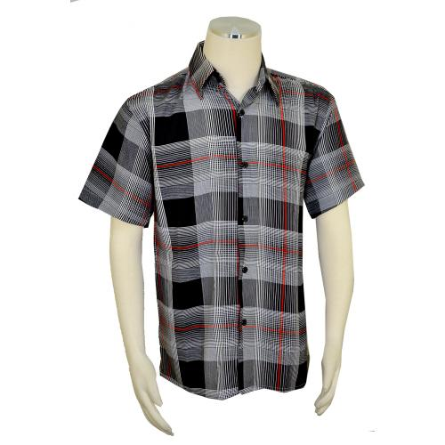 Pronti Black / White / Red Plaid Casual Short Sleeve Shirt S63711