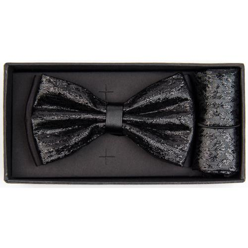 Classico Italiano Metallic Black PU Leather Banded Silk Bow Tie / Hanky Set BHR005
