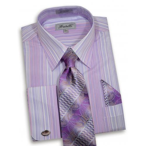 Fratello Lilac / Lavender / White Dress Shirt / Tie / Hanky / Cufflink Set FRV4147P2