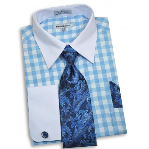 Daniel Ellissa Light Blue / White Dress Shirt / Tie / Hanky / Cufflink Set DS3804P2