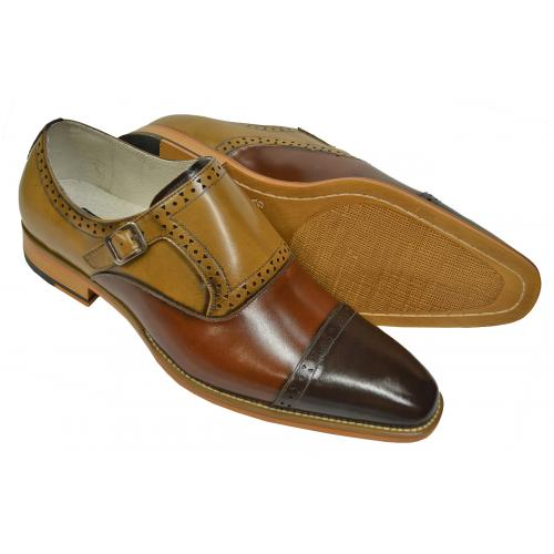 Giorgio Venturi Camel / Cognac / Brown Calfskin Leather Cap Toe Monk Strap Shoes 6771