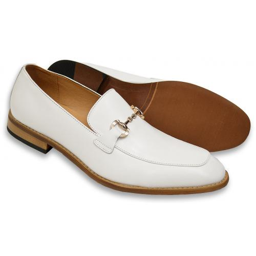"La Milano ""Lennon"" White Calfskin Leather Moc Toe Bit Strap Loafers"