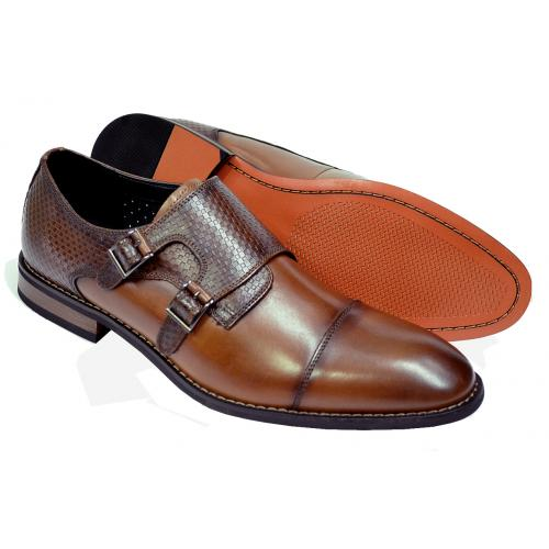 "La Milano ""Greyson"" Cognac Woven Calfskin Leather Cap Toe Double Monk Strap Shoes"