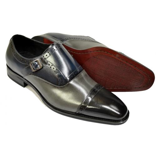 Giorgio Venturi Black / Grey / Navy Calfskin Leather Cap Toe Monk Strap Shoes 6771