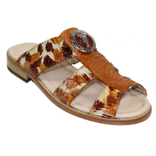 "Fennix Italy ""Ibiza"" Cognac Combination Genuine Alligator Platform Sandals."