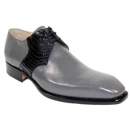 "Fennix Italy ""Arthur"" Grey / Black Genuine Alligator Oxford Shoes."