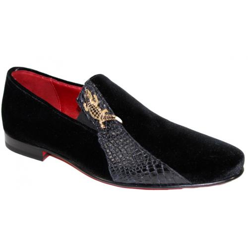"Fennix Italy ""George"" Black Genuine Alligator / Suede Loafers Shoes."