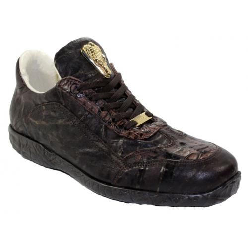 "Fennix Italy ""Jack"" Chocolate Genuine Hornback Crocodile / Calf Sneakers."
