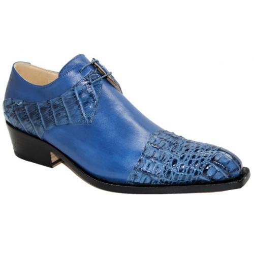 "Fennix Italy ""Max"" Jeans Genuine Hornback Crocodile / Calf Leather Oxford Shoes."