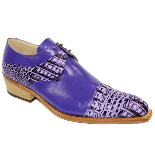 "Fennix Italy ""Max"" Lavender Genuine Hornback Crocodile / Calf Leather Oxford Shoes."