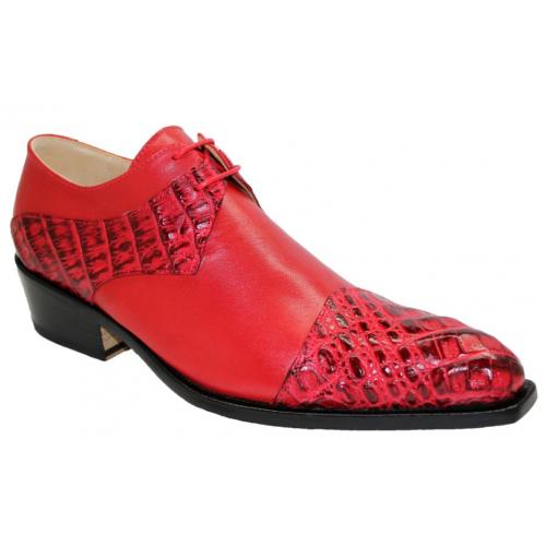 "Fennix Italy ""Max"" Red Genuine Hornback Crocodile / Calf Leather Oxford Shoes."