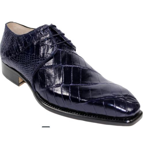 "Fennix Italy ""Oliver"" Navy Genuine Alligator Oxford Shoes."