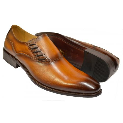 Carrucci Cognac Burnished Calfskin Leather Side-Laced Dress Loafers KS506-16