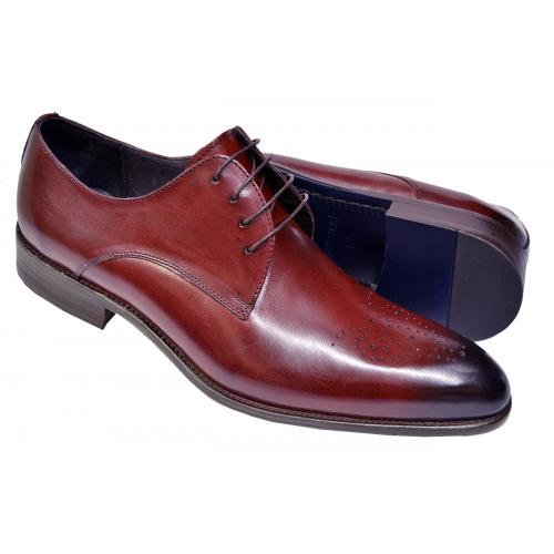 Carrucci Burgundy Burnished Calfskin Leather Medallion Toe Lace-Up Dress Shoes KS479-04