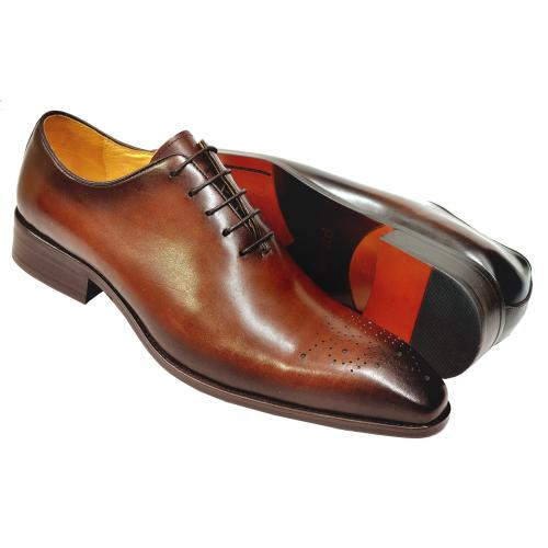 Carrucci Brown Burnished Calfskin Leather Wholecut Oxford Shoes KS503-36