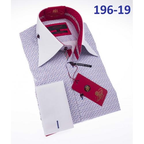 Axxess White / Multi Color Artistic Design Cotton Modern Fit Dress Shirt With French Cuff 196-19.