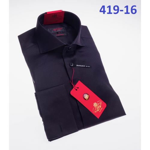 Axxess Black Cotton Modern Fit Dress Shirt With French Cuff 419-16.