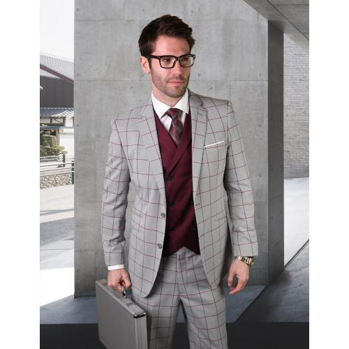 "Statement ""Rigato"" Light Grey / Burgundy Windowpane Super 150's Wool Vested Modern Fit Suit"