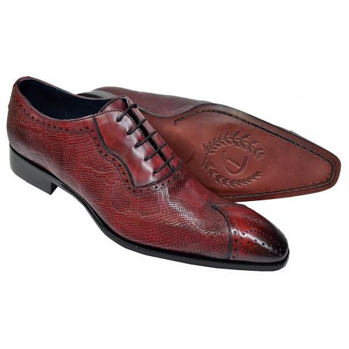 Duca 024 Antique Wine Hand Painted Lizard Embossed Italian Calfskin Oxford Shoes
