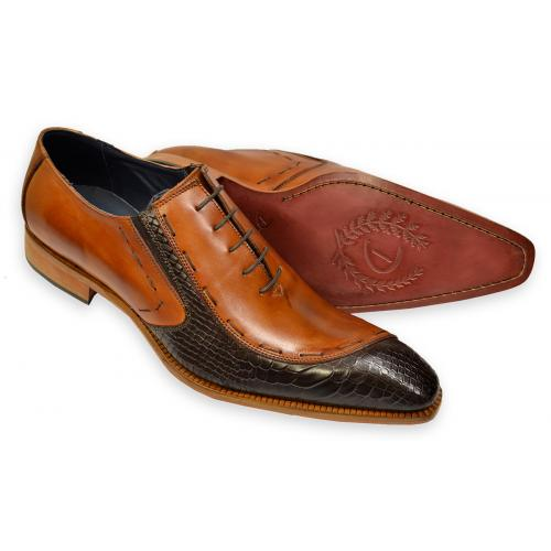 Duca 066 Cognac / Dark Brown Hand Painted Embossed Italian Calfskin Oxford Shoes