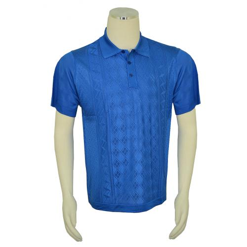 Pronti Royal Blue Knitted Microfiber Casual Short Sleeve Polo Shirt K6332