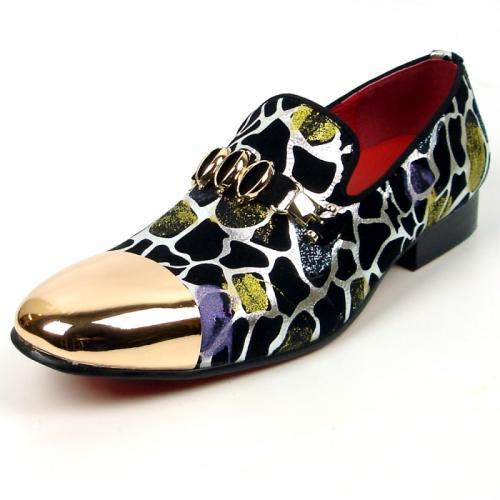 Fiesso Multi Color Genuine Leather Gold Metal Tip Loafer FI7448.