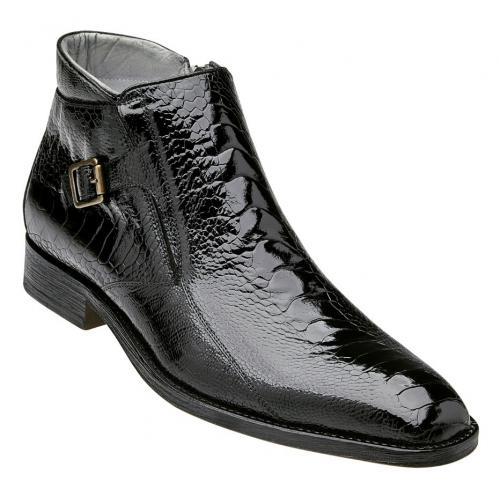 "Belvedere ""Gregg"" Black Genuine Ostrich Monkstrap Ankle Boot R18."