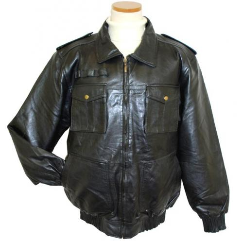 Mark Andre Black Lambskin Leather Bomber Length Jacket